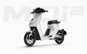 Niu MQi2 electric scooter front three quarter view