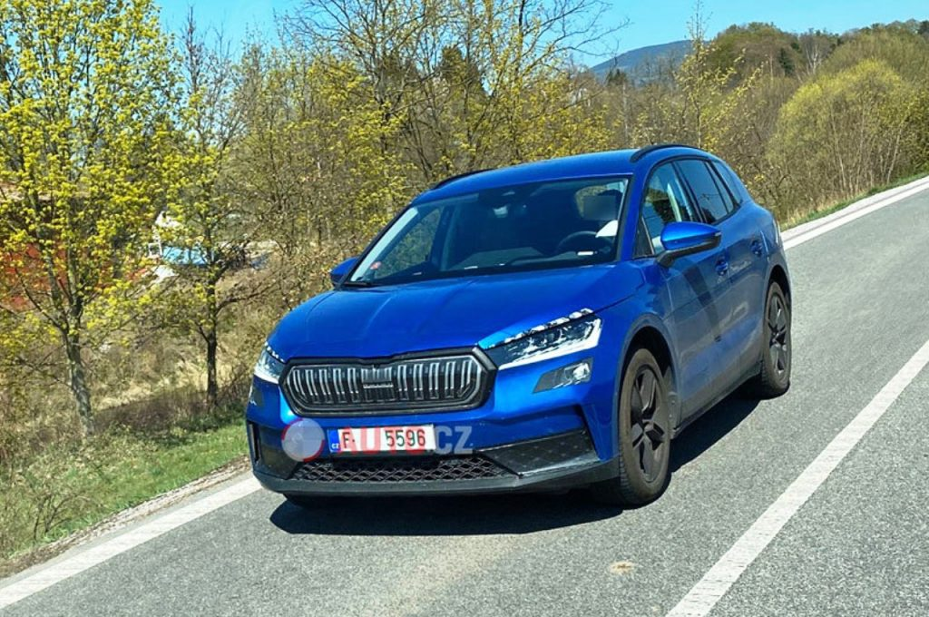 Skoda Enyaq electric SUV spied front view