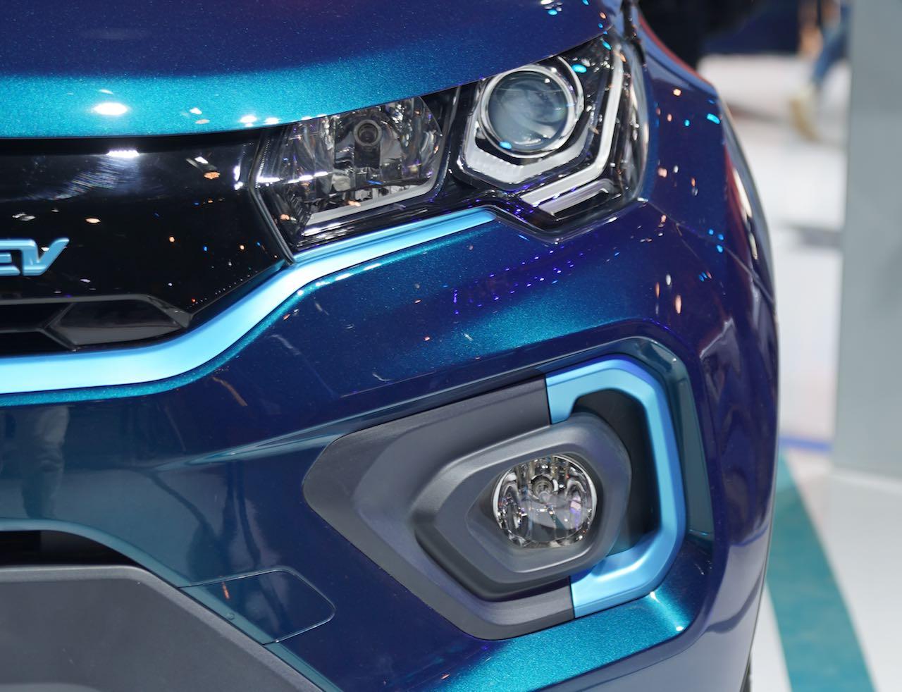 Tata Nexon EV headlamp and foglamp close up