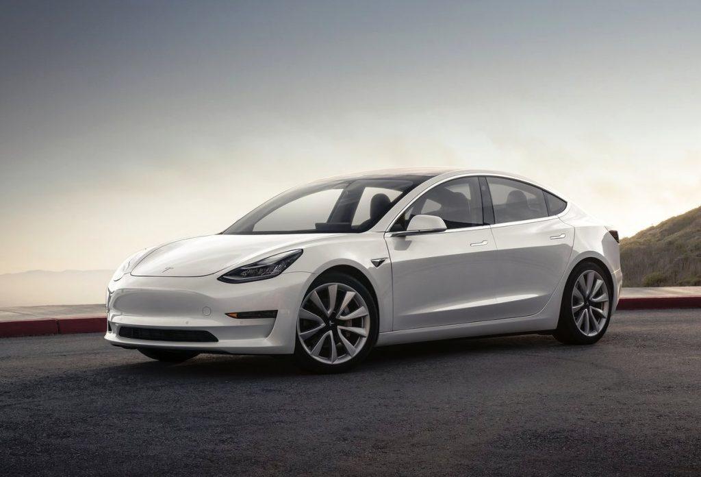 Tesla Model 3 front three quarter view