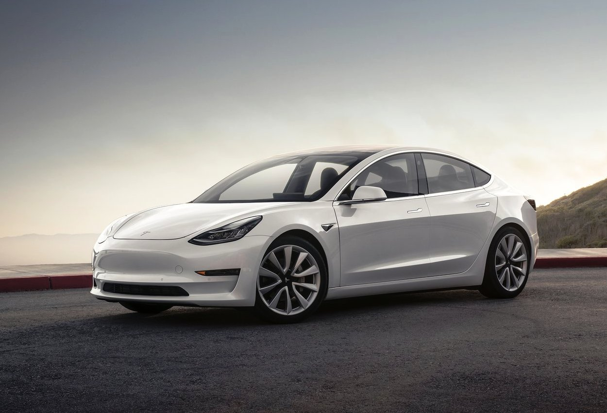Tesla Model 3 front three quarter view