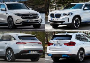BMW iX3 vs Mercedes-Benz EQC collage