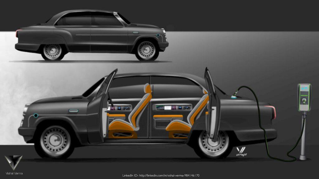 HM Ambassador Electric Vehicle concept interior