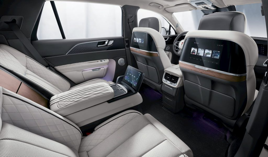 Hongqi E-HS9 rear seats Chinese Rolls Royce