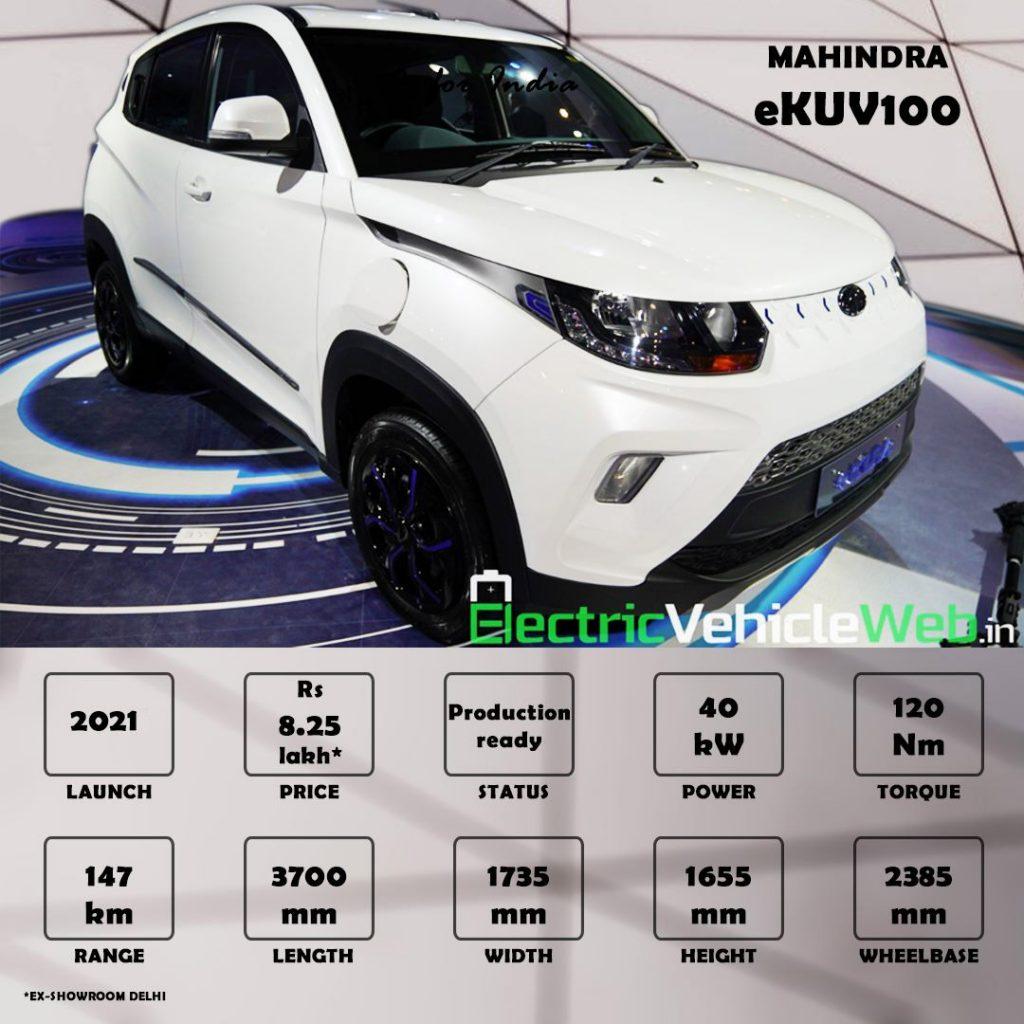 Mahindra eKUV100 Product spec sheet