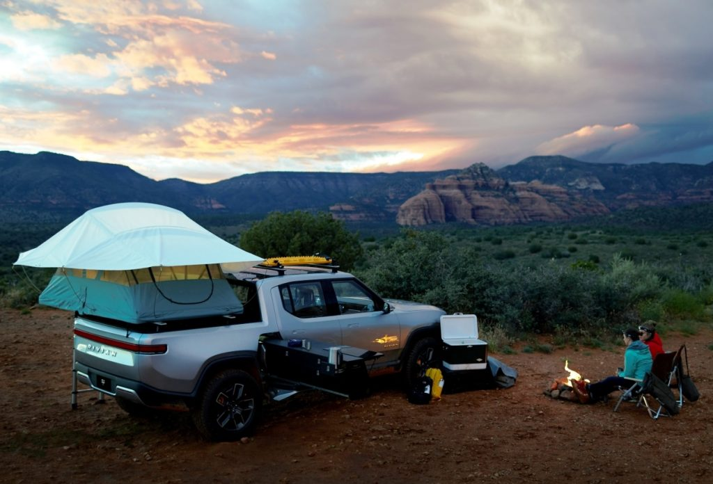 Rivian R1T electric pickup camp kitchen