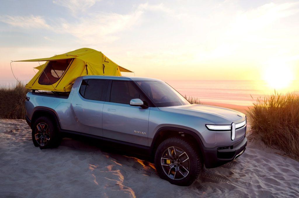 Rivian R1T electric pickup camping tent