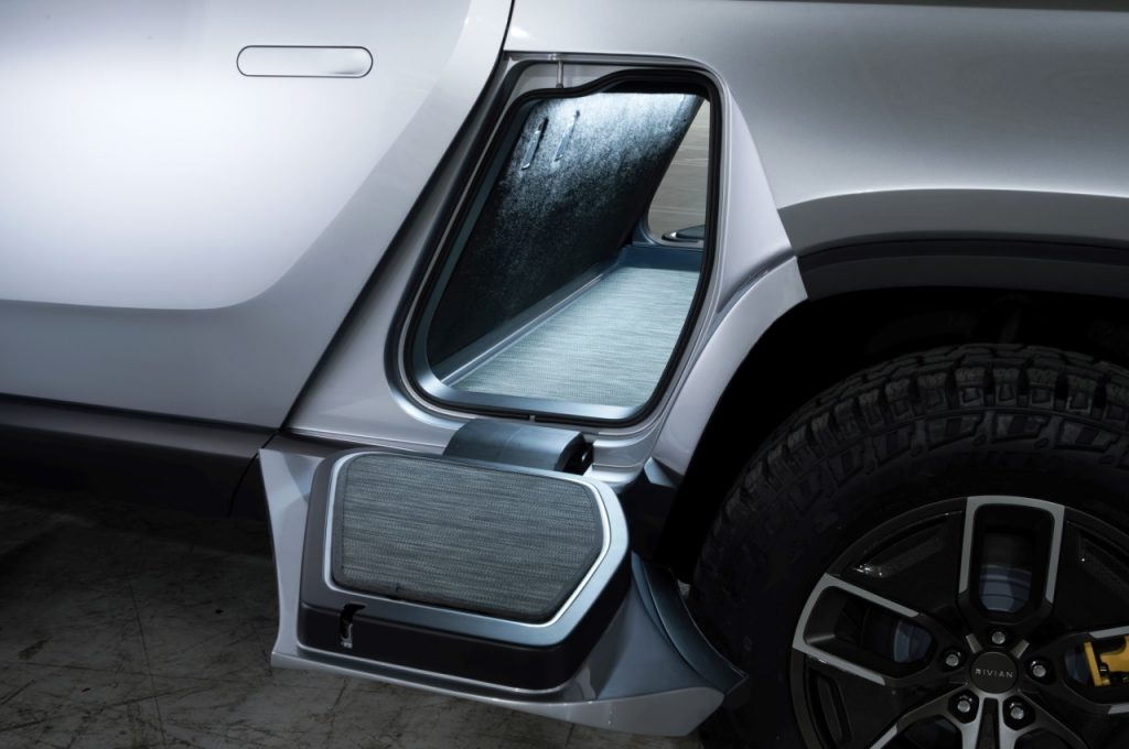 Rivian R1T electric pickup gear tunnel space