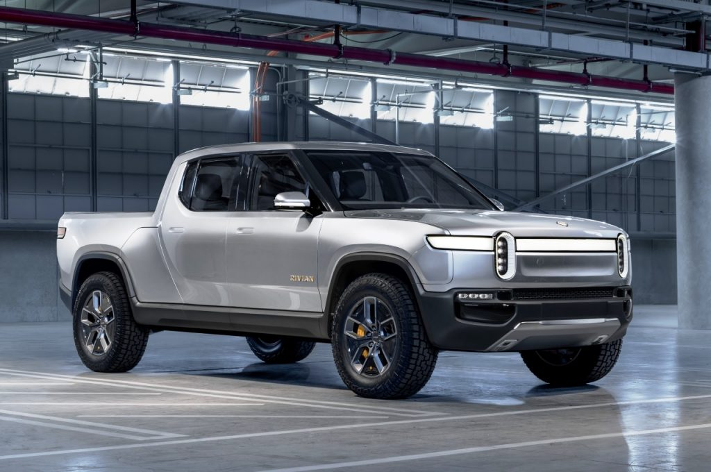 Rivian R1T electric pickup truck front three quarter view