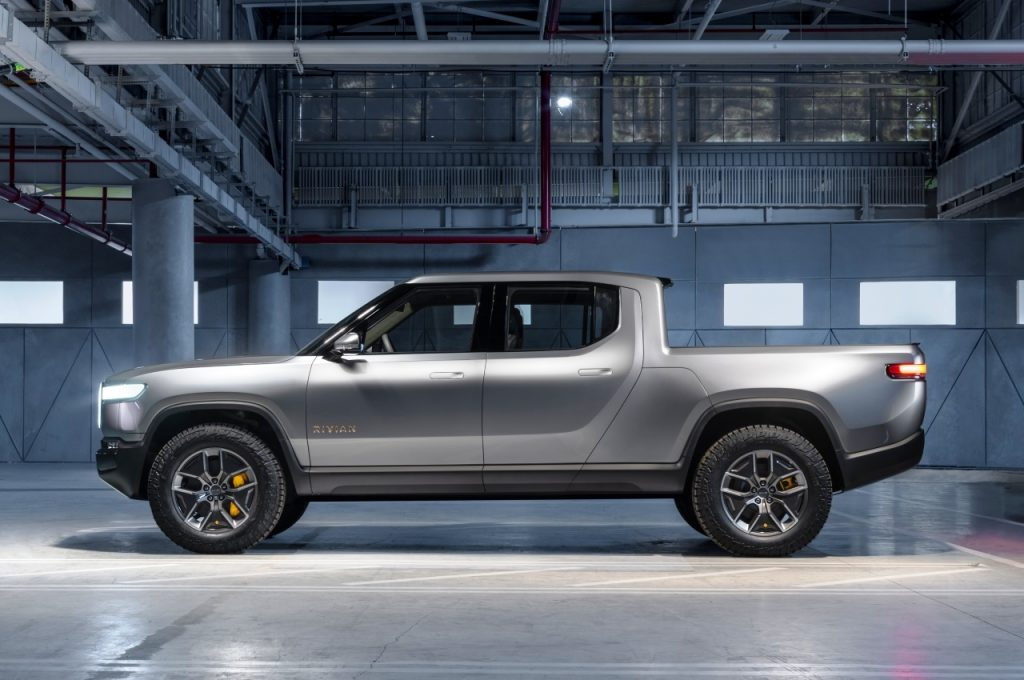 Rivian R1T electric pickup truck side view