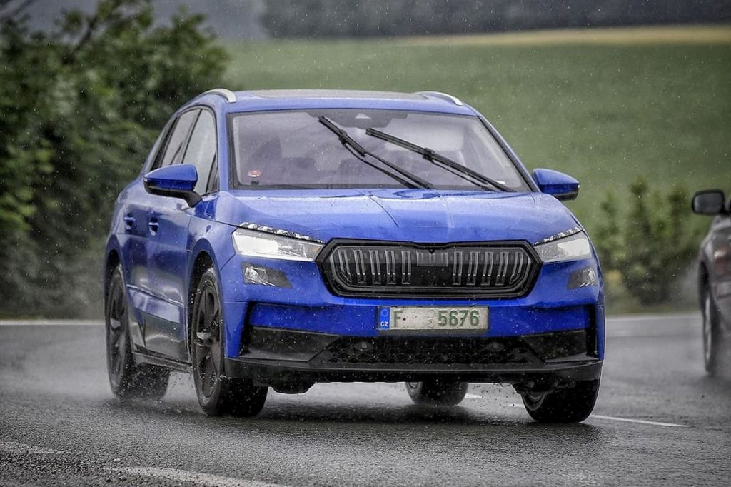 Skoda Enyaq electric SUV spotted with lower camouflage