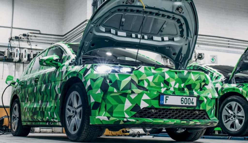 Skoda Enyaq iV electric front camouflaged