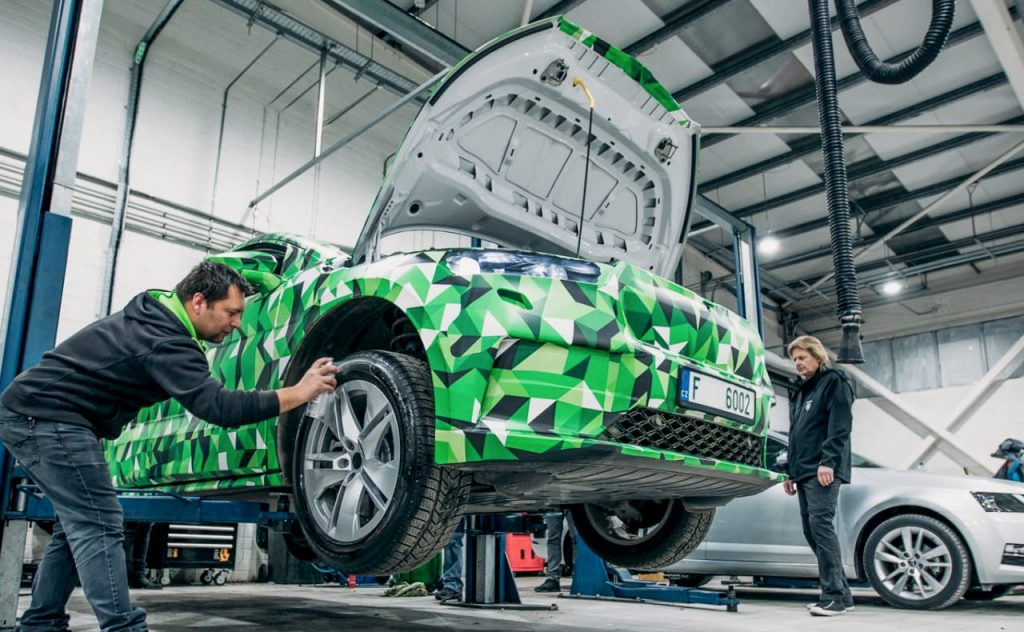 Skoda Enyaq iV electric front features camouflaged