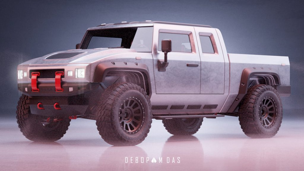 Thor electric pickup truck front three quarter view