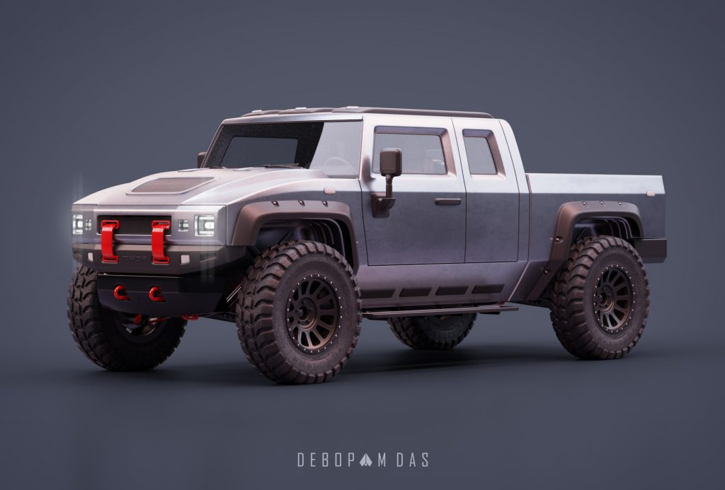 Thor electric pickup truck front three quarter view 03
