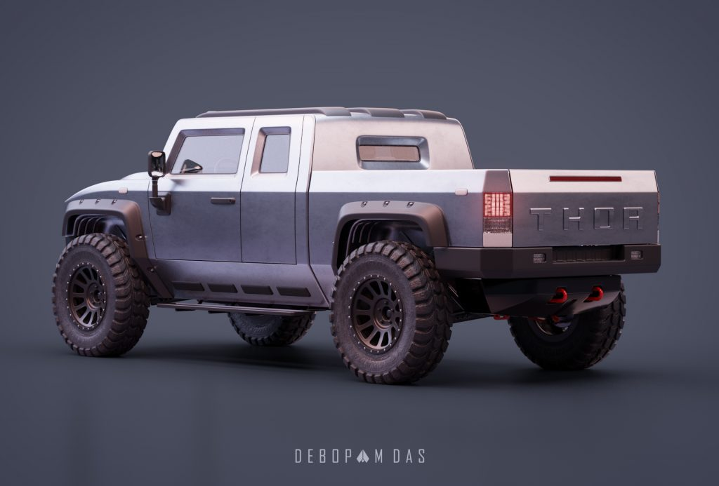 Thor electric pickup truck rear three quarter view 03