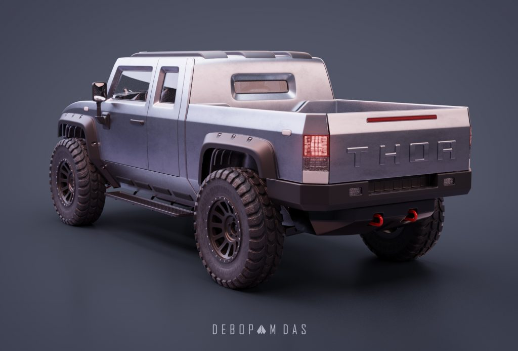Thor electric pickup truck rear three quarter view 04