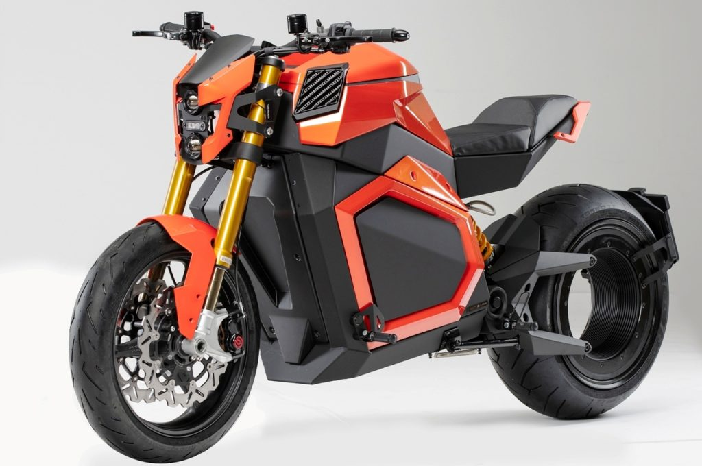 Verge TS electric motorcycle front three quarter view