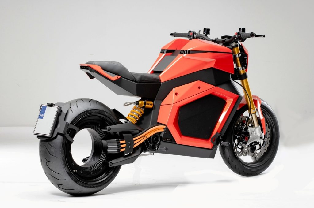 Verge TS electric motorcycle rear three quarter view