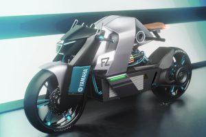 Yamaha FZ1 Electric render front three quarter view