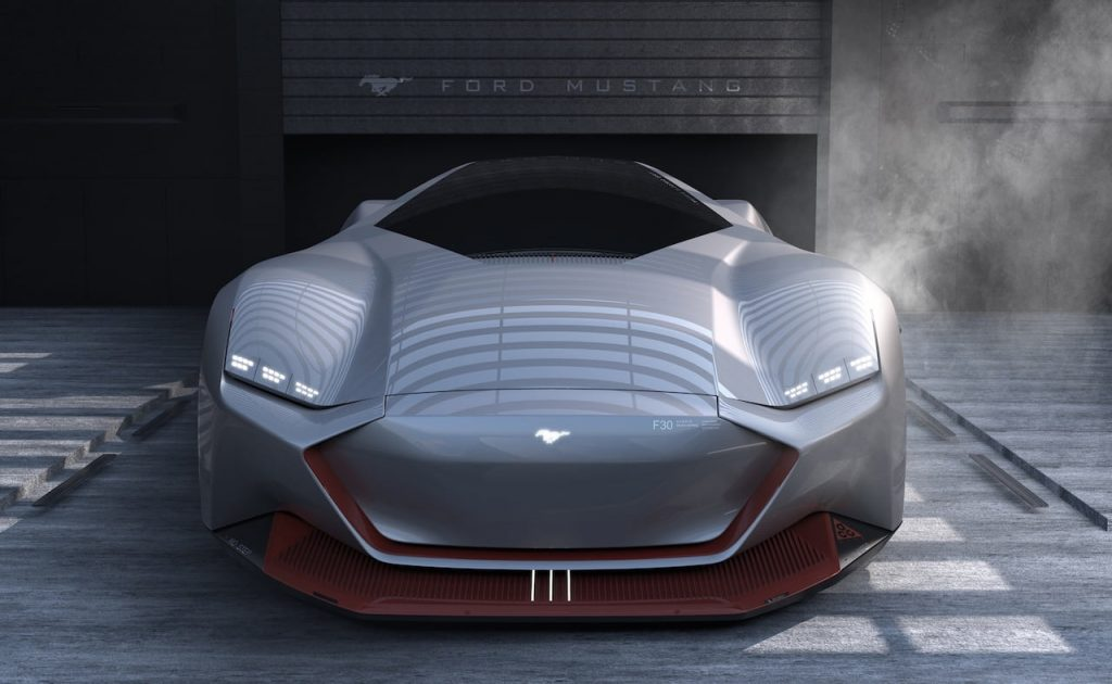 2030 Ford Mustang electric coupe design front