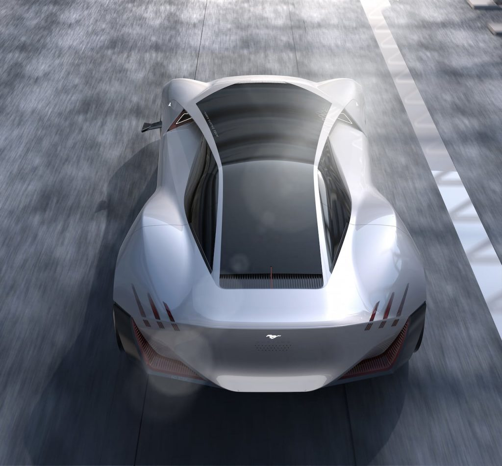 2030 Ford Mustang electric coupe design rear and rooof