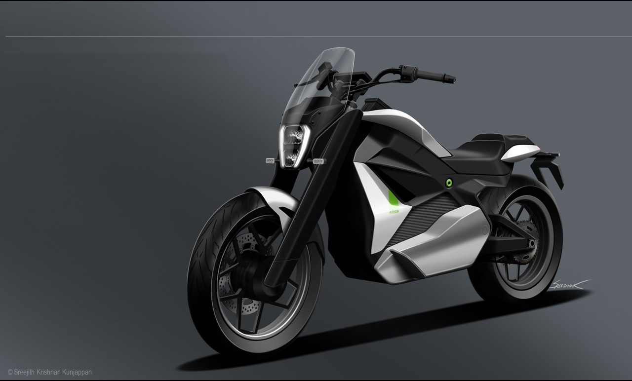 Ather Cruiser Motorcycle Concept front quarter view