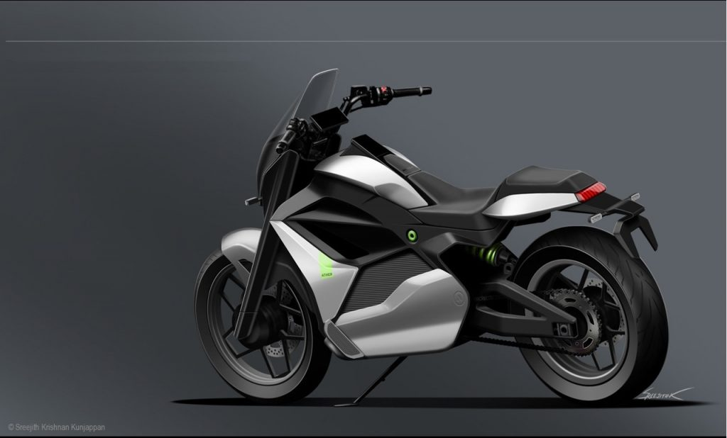 Ather Cruiser Motorcycle Concept rear quarter view