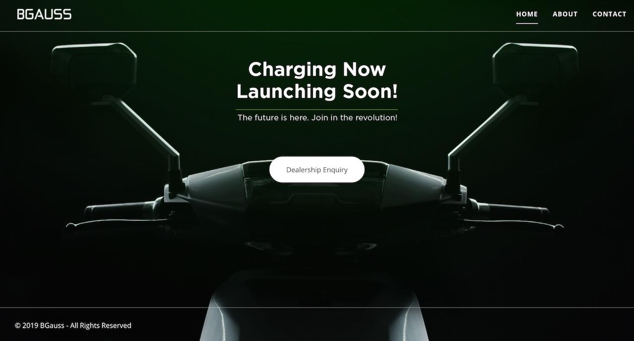 BGAUSS electric scooter website screenshot