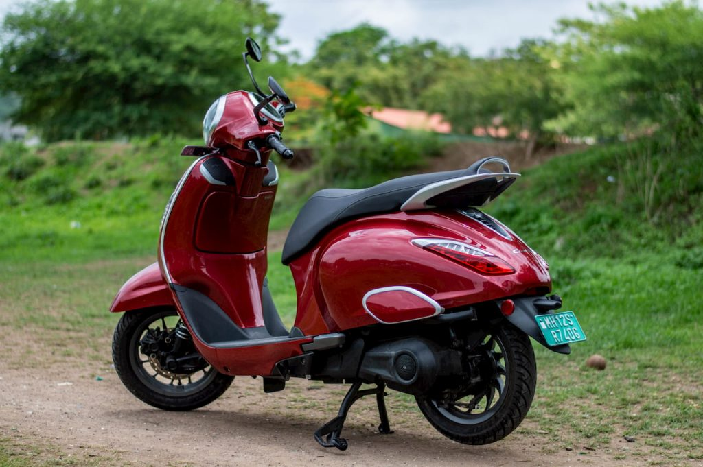 Bajaj Chetak electric scooter rear quarter view initial ownership review from Pune