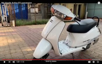 EV enthusiast converts his old Honda Activa into an electric vehicle