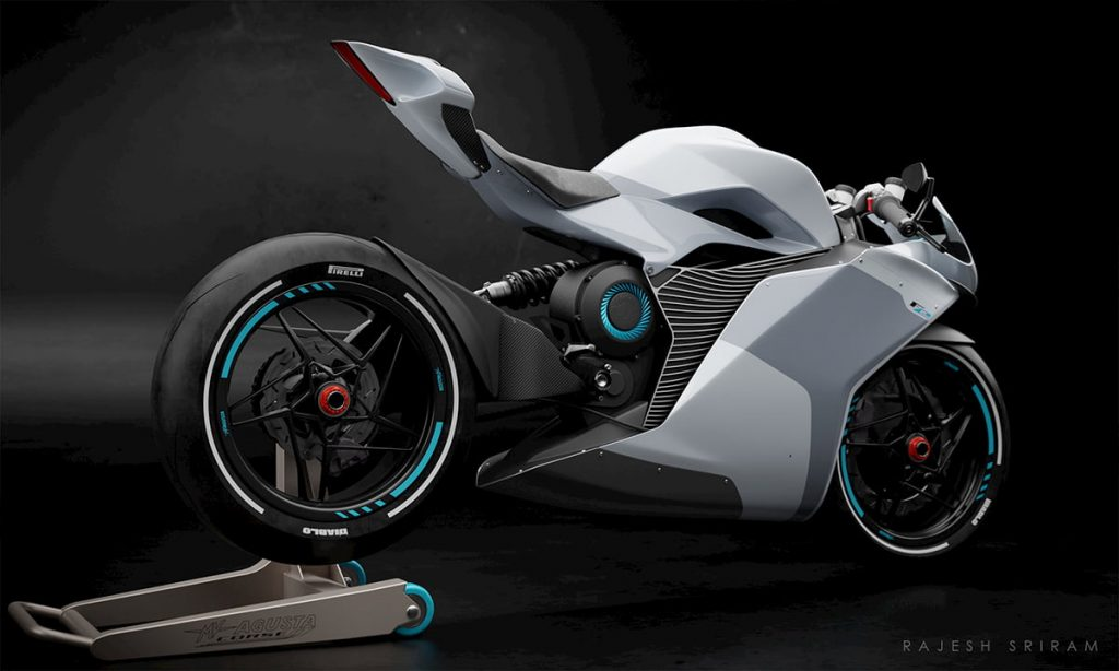 MV Agusta FE Electric white rear view