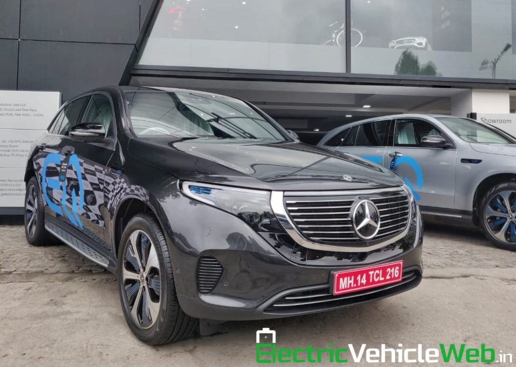 Mercedes EQC black front three quarters India