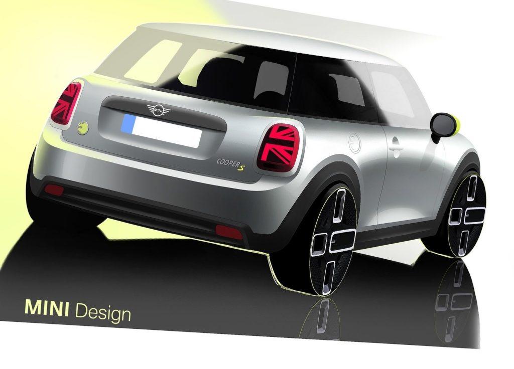 Mini Cooper SE rear quarter sketch