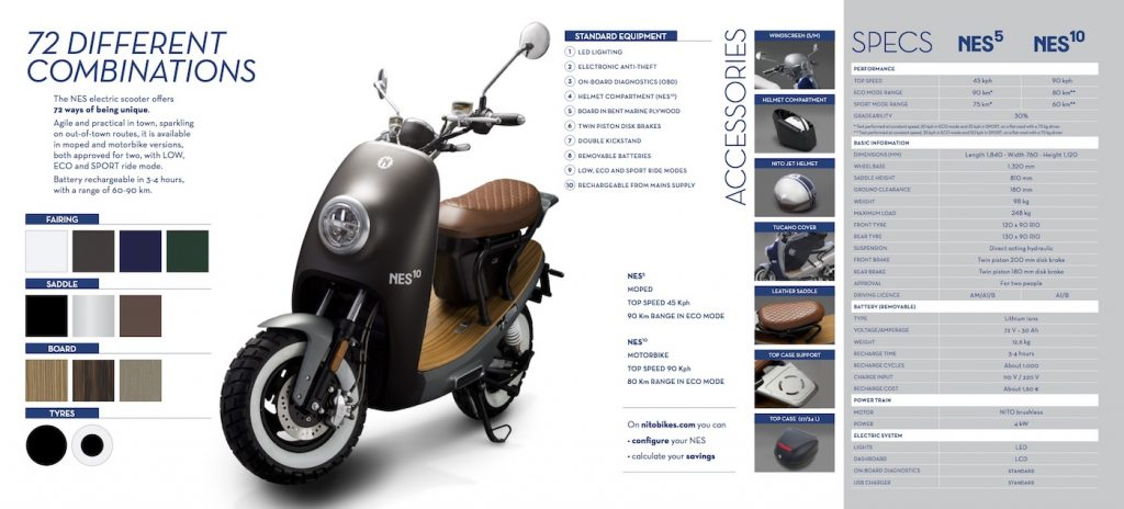 Nito NES electric scooter specification sheet