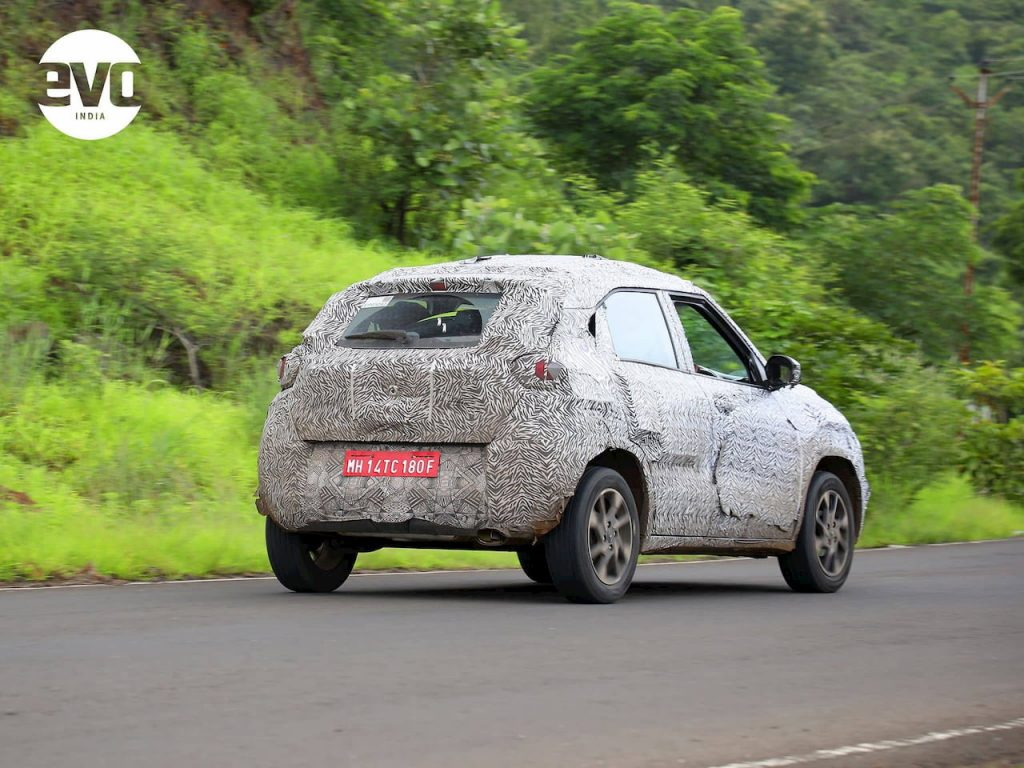 Production Tata HBX rear three quarters spy shot