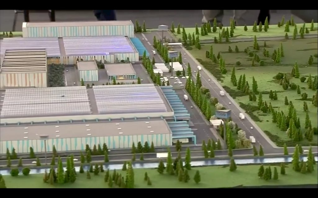 TOGG manufacturing plant electric car scale model Gurcan Karakas presentation