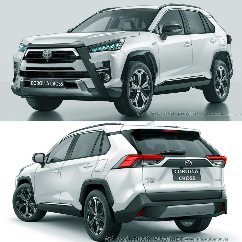 Toyota Corolla Cross front and rear angles renderings