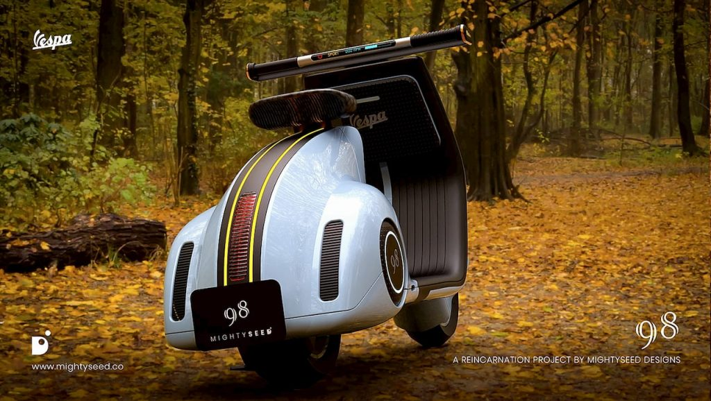 Vespa electric concept by Mightyseed rear three quarter