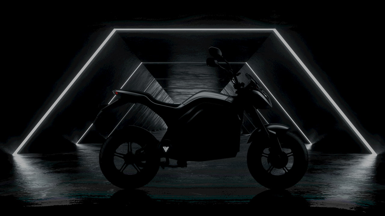 Voltz Motors EVS electric motorcycle side view teaser