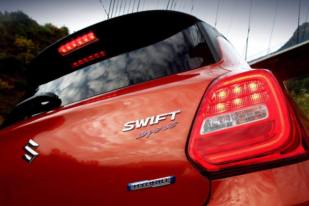 2020 Suzuki Swift Sport Hybrid 'Hybrid' badge taillamp official image