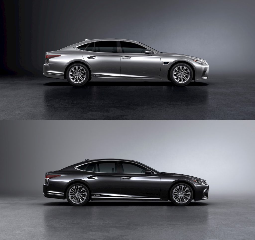 2021 Lexus LS side vs 2018 Lexus LS side