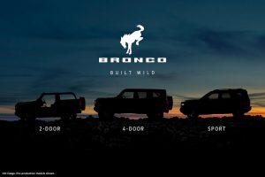 Ford Bronco 2-door, Ford Bronco 4-door and Ford Bronco Sport teaser