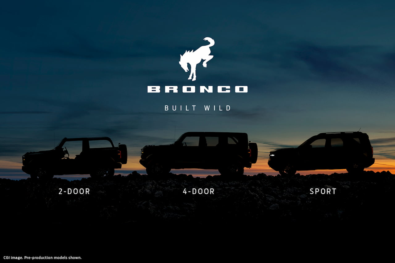 Ford Bronco 2-door, Ford Bronco 4-door and Ford Bronco Sport teaser