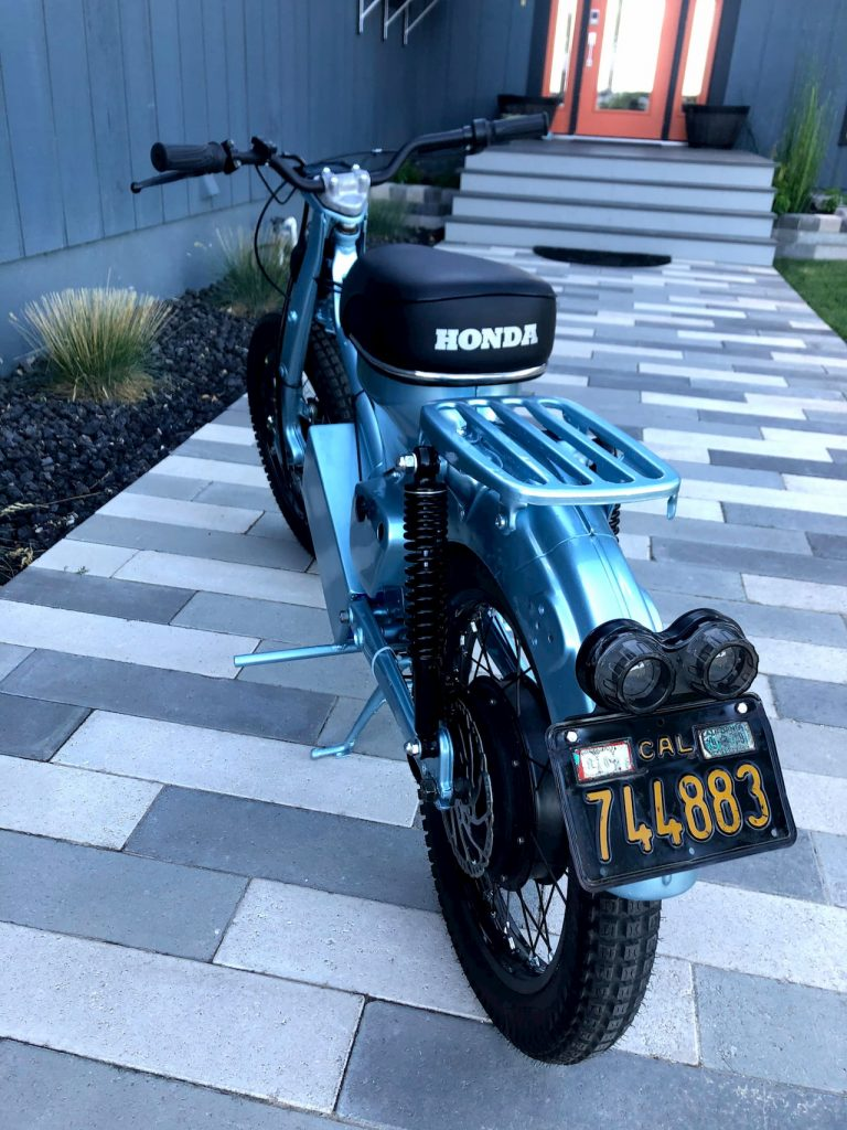 Honda CT90 electric conversion rear view