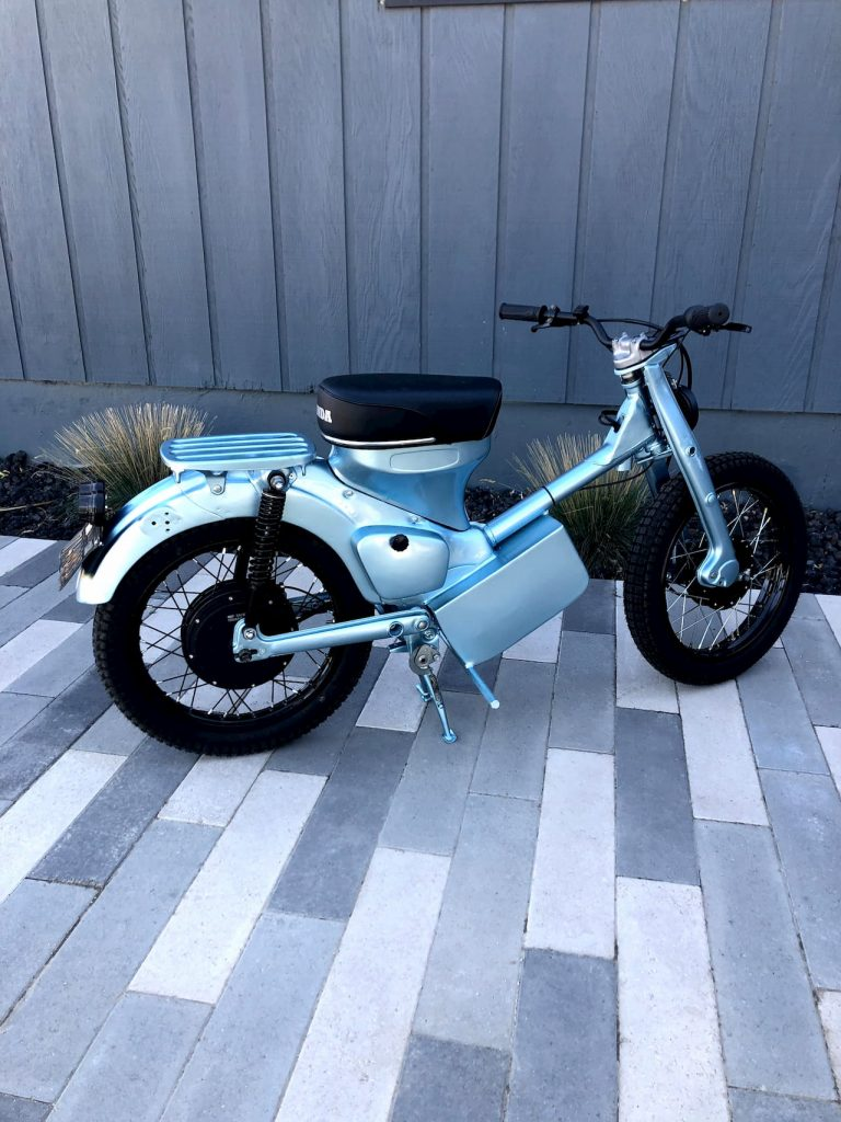 Honda CT90 electric conversion side view