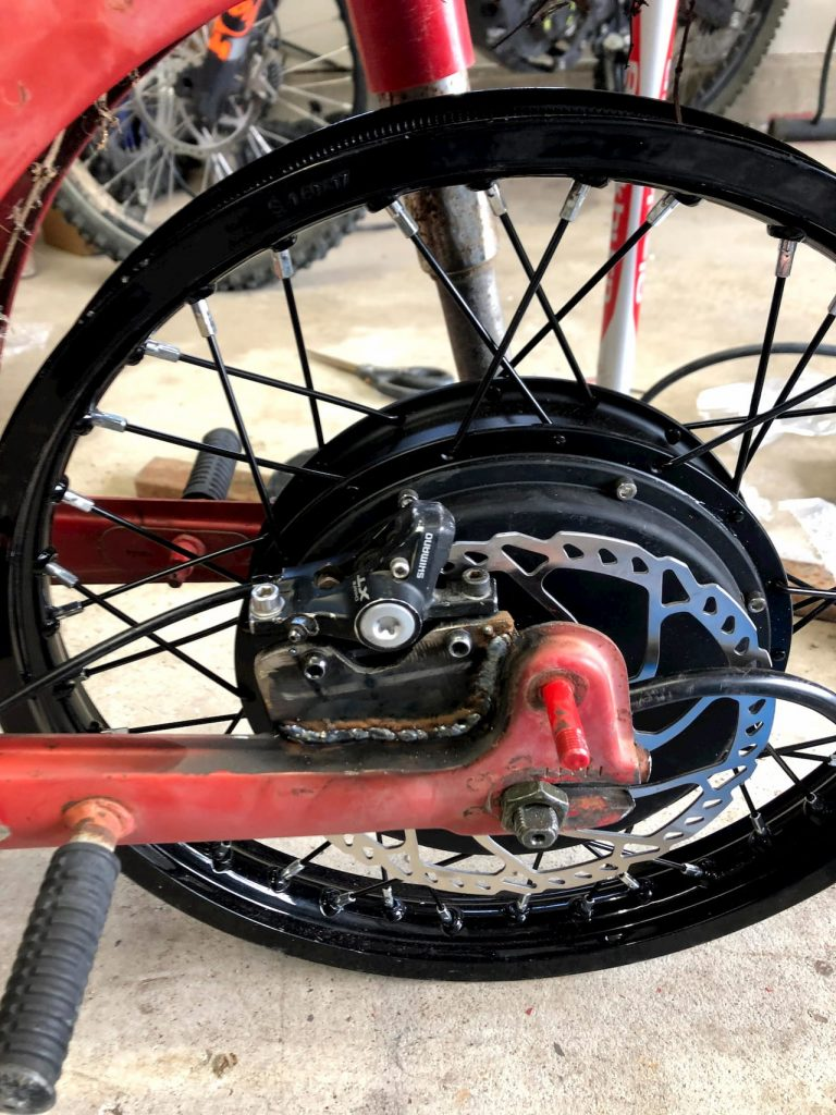 Honda CT90 rim rear wheel motor electric vehicle conversion build process