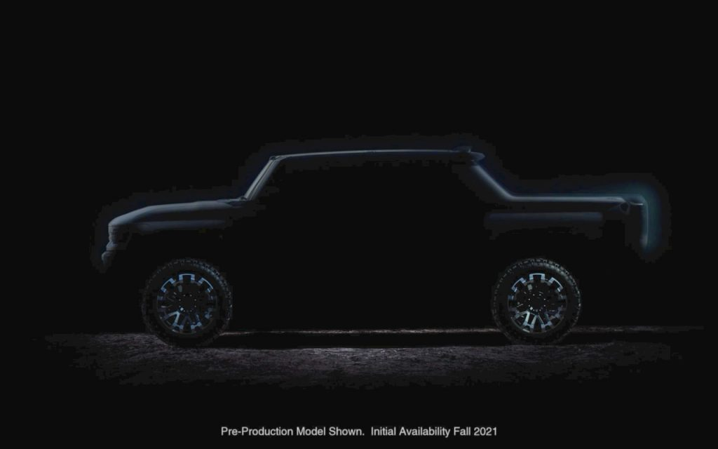 Hummer Electric pickup teaser side