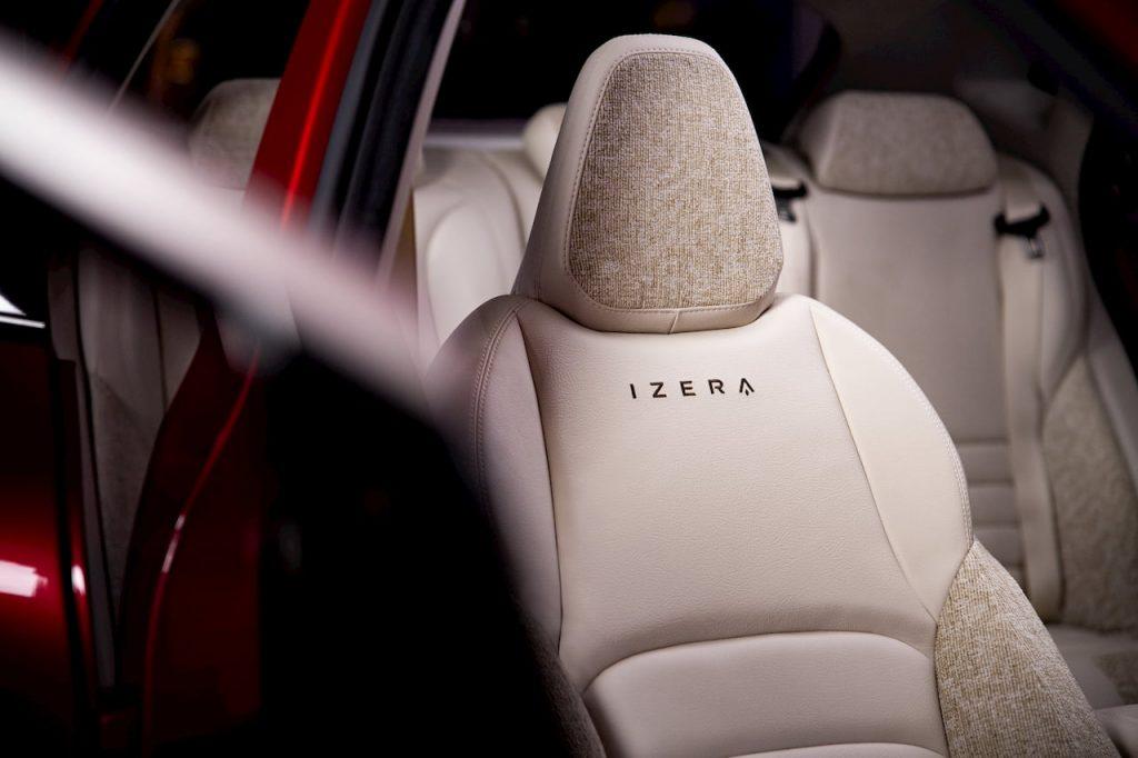 Izera electric hatchback front seat