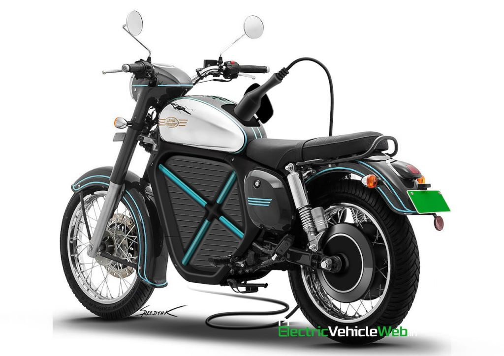 Jawa electric bike rendering rear three quarters